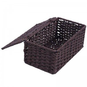 paper rope + iron frame box cover, Brown