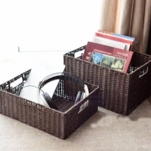 Pasta and rattan weave storage basket Japanese-style storage box magazine finishing box storage basket plus large drawer