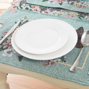 Pastoral Style Floral Embroidered Placemat Jacquard Fabric Blending Butterfly & Flower Placemats Set of 4