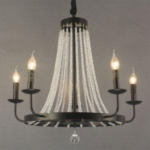 Pena French Country Candle Light Chandelier Gold / Black Metal Band & Crystal Bead Strands 5-Light / 8-Light