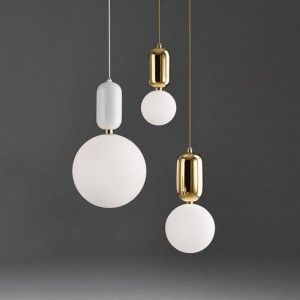 Pendant Light glass ball Post Modern drop Lamp Creative Iron Suspension Cafe Bar shop Office Art Handing gold white