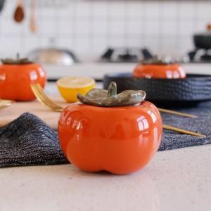 persimmon Tea can ceramics Seasoning tank Creative seal Decoration manual Mini spices storage box canister tea jar