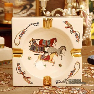 Porcelain ashtray ivory porcelain 4 sizes god horses design square shape home decoration supplies housewarming business gifts