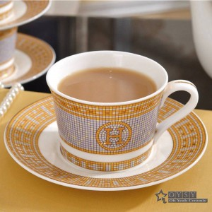 "Porcelain coffee cup and saucer bone coffee set ""H"" mark mosaic design outline in gold tea cup and saucer set saucer set"
