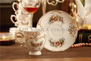 Porcelain coffee set bone flower design embossed outline in gold 15pcs coffee cup set coffee pot coffee jug cup saucer set