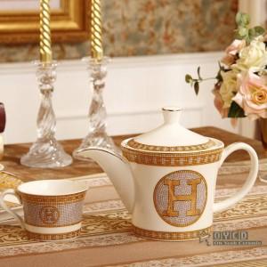 "Porcelain coffee set bone ""H"" mark mosaic design outline in gold 8pcs ceramin tea set coffee pot coffee jug tea tray"