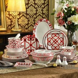 Porcelain dinnerware set bone Red Characteristics design 58pcs dinnerware sets 43pcs dinner set 15pcs coffee set