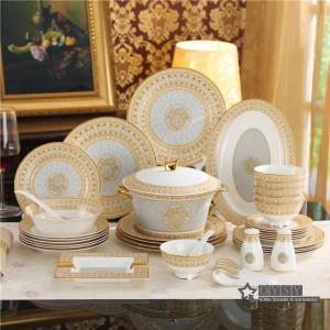 Porcelain dinnerware set bone mosaic design outline in gold 58pcs dinnerware sets dinner set coffee sets gifts