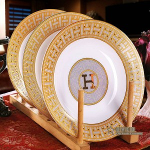"Porcelain dinnerware set bone ""H"" mark mosaic design outline in gold 58pcs dinnerware sets dinner set housewarming gifts"