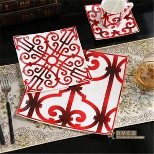 Porcelain European Style Ceramic dinnerware set bone fashion Red design 5pcs dinnerware sets Striped dinner set gifts