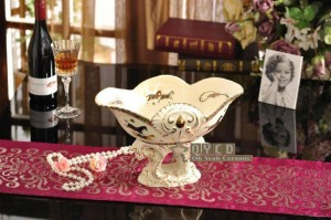 Porcelain fruit bowl ivory porcelain god horses design embossed outline in gold decorative fruit bowl housewarming gifts