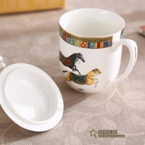 Porcelain mug bone mugs the god horses design outline in gold ceramic coffee mug with lid