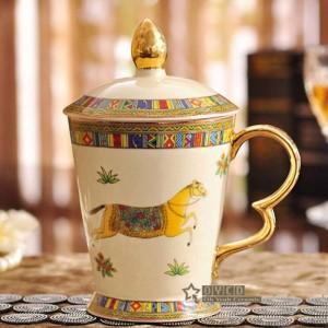 Porcelain mug ivory porcelain mug the god horses design outline in gold classical mug with lid cups and mugs