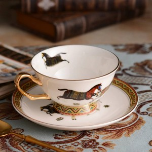 Porcelain tea cup and saucer ultra-thin bone god horses design outline in gold coffee cup and saucer set gift-box packing