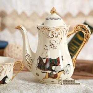Porcelain tea set ivory porcelain god horses design outline in gold 8pcs tea sets cup set with tray tea pot tea tray