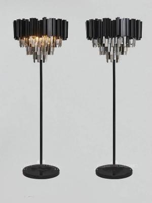 Post-modern Black crystal floor lamps for Living Room wedding led desk floor light Lambader Restaurant smoke Crystal Floor Lamps