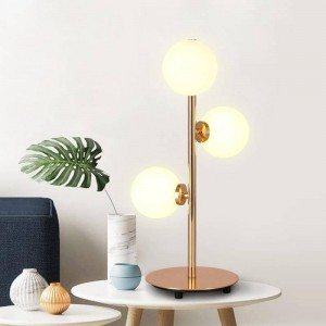 Post modern creative LED table lamp Milky Frosted Glass lampshade gold luxury plated home decoration bedroom bedside desk lamp