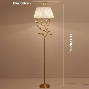 Post modern floor lamps living room decoration copper lamp body cloth lampshade bedroom bedsiade table lamp LED reading lamp