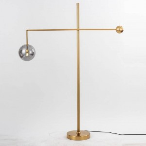 Post modern floor lamps living room decoration Iron art plated gold lamp body glass ball lampshade bedroom bedsiade LED lighting