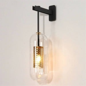 Post modern indoor lighting wall lamp gold/black metal glass creative sconce wall light for bedroom bedside Aisle corridor stair
