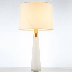 Post modern marble table lamps modern gold luxury copper body cloth art lampshade for foyer bedroom hotel LED e27 reading light