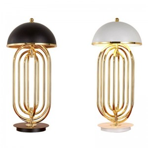 Post modern plating table lamp with 3PCS 3W E14 candle light black white lampshade gold body free express
