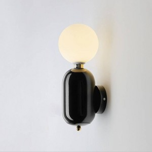 Post modern wall lamp black white gold color simple creative bedside decoration light living room corridor wall light
