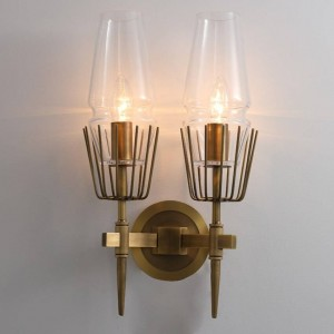 Postmodern industrial Wall lamp 1/2 heads glass led Wall Scone Light restaurant Stairs aisle Light fixture Bedroom Bedside lamp