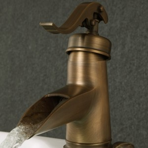 Pump Style One Hole Single Lever Waterfall Bathroom Sink Faucet Solid Brass in Antique Brass