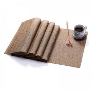PVC Pure Color Eat Mat Bamboo Weave Table Mat Environmental Protection Insulation Home Decoration Mat Table Decoration