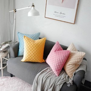 Quilted Fabric Cushion Cover Paild Luxury Chic Decorative Pillows Case Almofadas Cojines Sofa Solid 4 Colors Cute Car Covers
