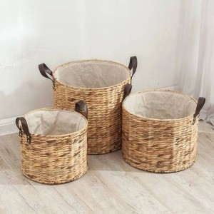 Rattan hamper bucket without cover dirty clothes laundry basket storage basket large straw basket dirty clothes storage bucket