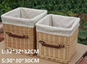 Rattan storage basket basket with handle portable TV cabinet storage basket coffee table storage drawer basket