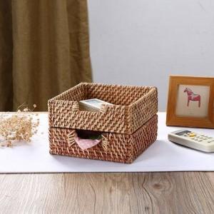 Rattan storage tray Desktop finishing storage basket Tissue box Remote storage storage basket napkin box
