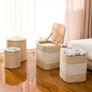 Rattan straw storage stool change shoes stool storage stool can sit people covered storage box sofa stool ottoman