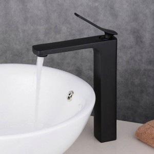Regan Minimalist Single Handle Solid Brass Bathroom Vessel Sink Faucet One-Hole Matte Black