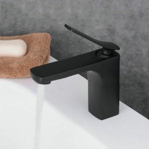 Regan Retro Single Handle One-Hole Square Bathroom Sink Faucet Solid Brass Matte Black
