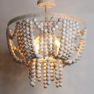 Regas Vintage Style 4-Light White Frame & Rustic Round Wood Beads Semi Flush Mount Ceiling Light