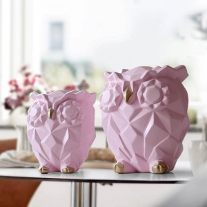Resin figurine for gift cute Owls Animal Statues home decoration fairy Garden Kid's room craft toy statues lovely Geometric Owls