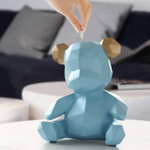 Resin Teddy Bear Figurines Creative Money Box Gift Wedding Storage Box Money For Children Coins Holders Box Kids Toy Coin Bank