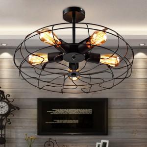 Retro 5-Light Wrought Iron Black Fan Semi Flush Mount Ceiling Light