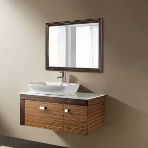 Retro black walnut bathroom mirror wall-mounted living room bedroom vanity mirror wx8221537