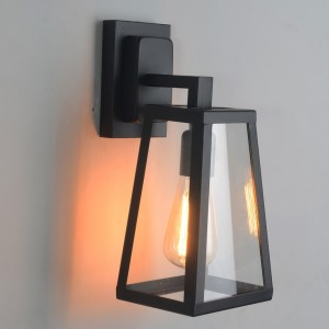 Retro Industrial Antique Matte Black Iron Lantern Outdoor Wall Sconce 1-Light with Clear Glass
