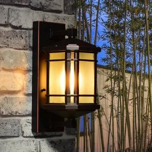 rustic aluminum outdoor Wall Lamp Balcony Walkway glass shade Waterproof Garden Lighting Villa antique Outdoor Wall Light