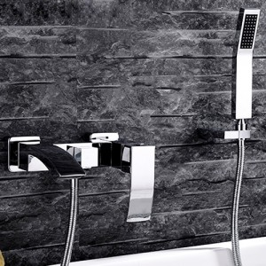 Ridge Modern Wall-Mount Angled Waterfall Spout Single Handle Tub Filler Faucet with Hand Shower Set Solid Brass in Polished Chrome