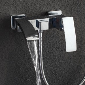 Ridge Wall-Mount Angled Waterfall Spout Single Handle Tub Filler Faucet Only Solid Brass in Polished Chrome