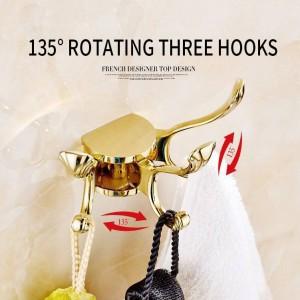 Robe Hooks Europe Rotation Three Hooks Gold Wall Clothes Rack Cloth Hook Wall Hook For Bathroom Accessory Key Hanger Useful 233H