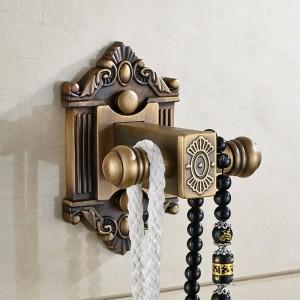 Robe Hooks Single Double Wall Hook Antique Brass Coat Rack Clothes Door Hanger Bathroom Kitchen Fittings Towel Holder LAD-71201