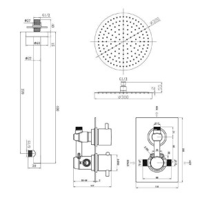 """Round 12"""" Ultra Thin Mixer Shower Head Chrome Thermostatic valve Bathroom Set Wall Mounted"""