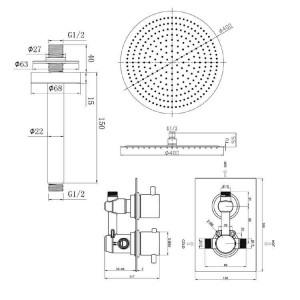 "Round 16"" Ceiling Mixer Ultra Thin Thermostatic Shower Head Set Chrome Bathroom Valve Set"